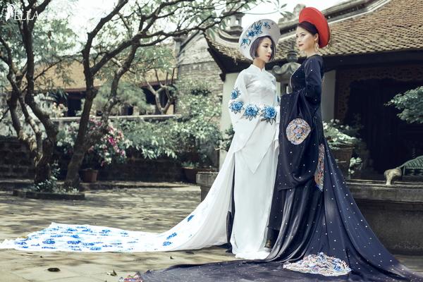 Á hậu Ý Lan (phải) cùng GĐ Lê Minh Ngân (trái) ấn tượng trong BST áo dài Nét Xưa – được lấy cảm hứng từ đặc trưng văn hóa Việt các vùng miền qua các thời kỳ