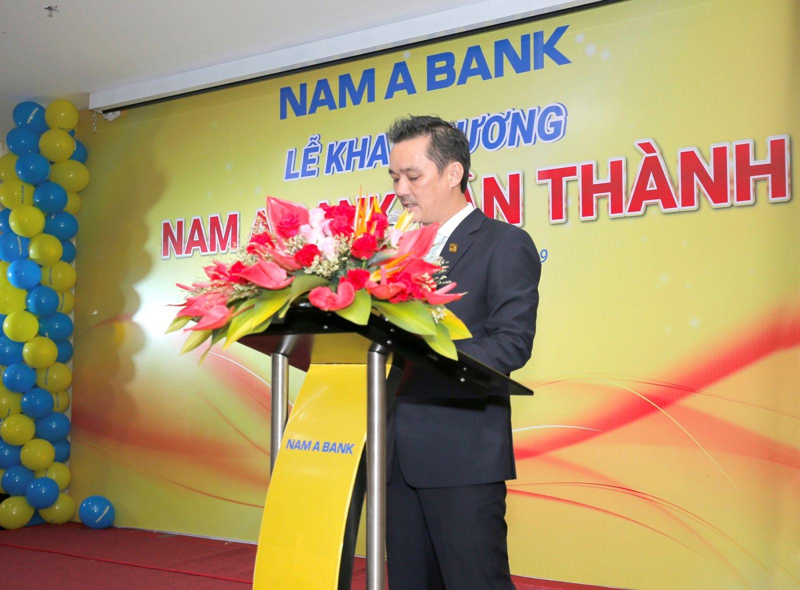 Ông Nguyễn Duy Phương – Phó Giám đốc Nam A Bank khu vực miền Đông Nam Bộ phát biểu tại Lễ khai trương Nam A Bank Tân Thành - Bà Rịa Vũng Tàu.