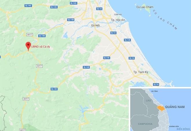 Xã Cà Dy, huyện Nam Giang, Quảng Nam (chấm đỏ), nơi xảy ra vụ việc. Ảnh: Google Maps.