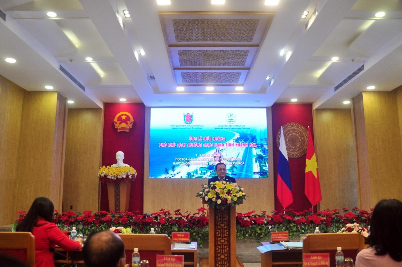 Ông Lê Hữu Hoàng - Phó Chủ tịch thường trực UBND tỉnh Khánh Hòa phát biểu tại hội thảo