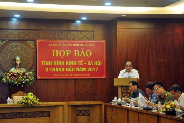 Ông Huỳnh Ngọc Bông Chánh Văn phòng UBND tỉnh, Báo cáo tình hình kinh tế xã hội 9 tháng đầu năm 2017