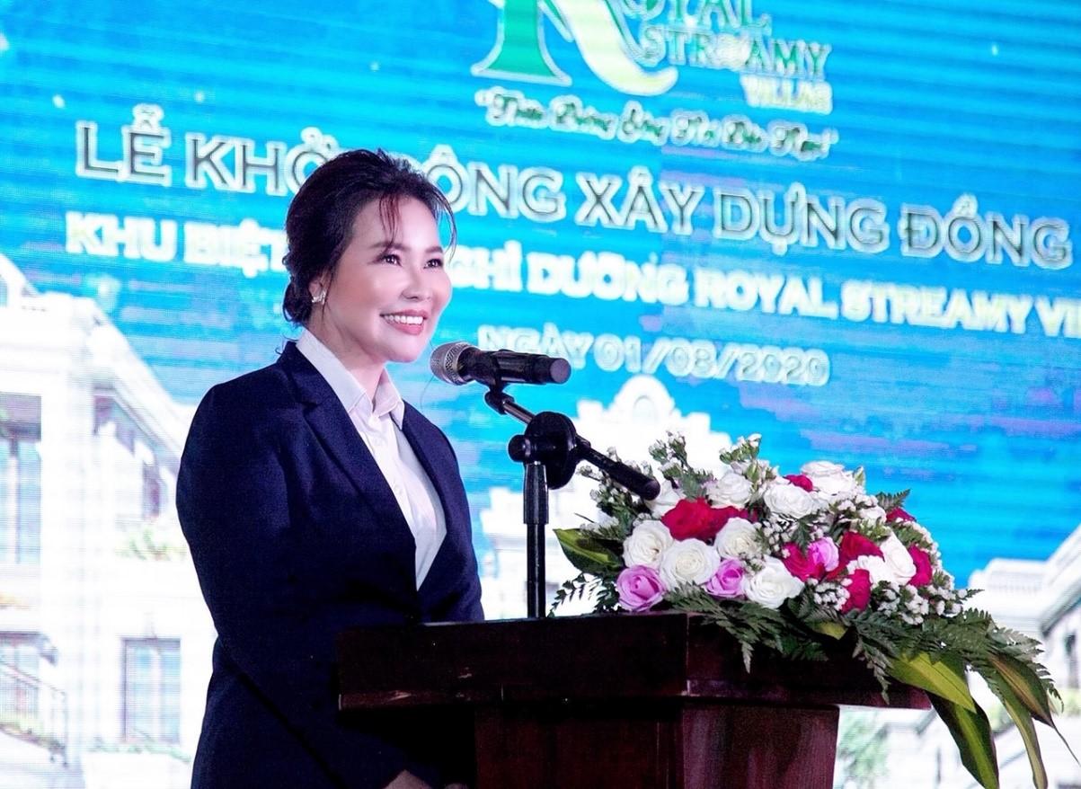 Nữ doanh nhân Nguyễn Ngọc Tiền, CEO của công ty GIS-cổ đông chiến lược của Tập đoàn CIC phát biểu tại buổi lễ.