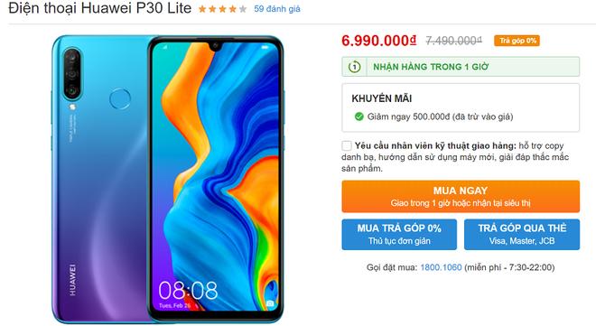 P30 Lite giảm giá từ 500.000 đồng xuống còn 6.990.000 đồng.