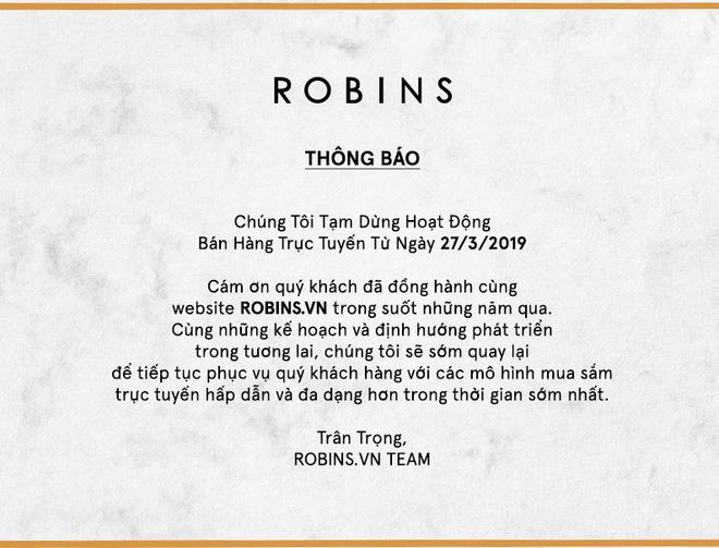 Thông báo tạm dừng hoạt động bán hàng trực tuyến Robins.vn khiến nhiều khách hàng bất ngờ.