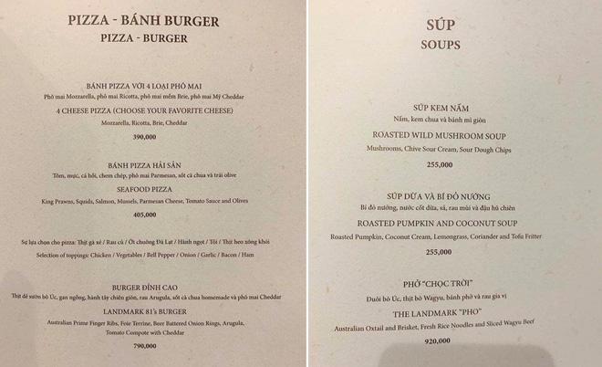 Niêm yết giá phở chọc trời 920.000 đồng/bát và burger đỉnh cao 790.000 đồng/chiếc tại Landmark81.