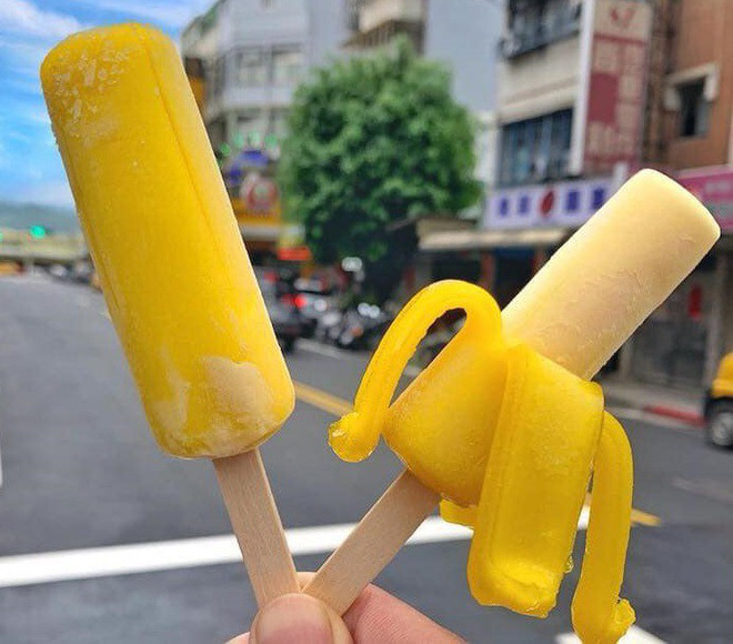Kem chuối Đài Loan rao bán trên thị trường.
