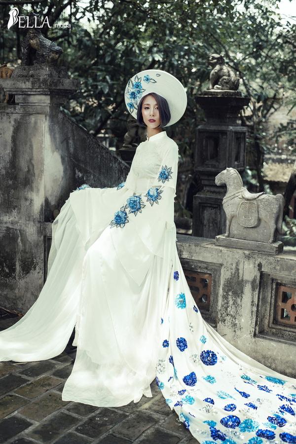 Giám đốc Bella Moda điệu đà trong bộ áo dài trắng cách điệu đẹp như một nàng công chúa