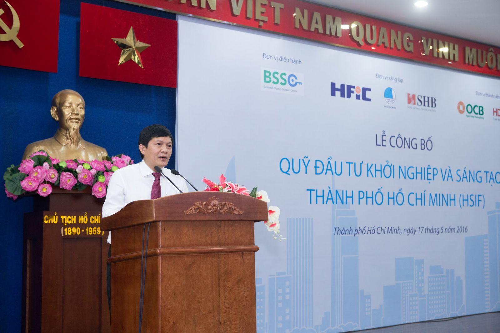 Phạm Phú Quốc (Tổng Giám đốc Công ty Đầu tư Tài chính Nhà nước TPHCM – HFIC) phát biểu tại buổi lễ