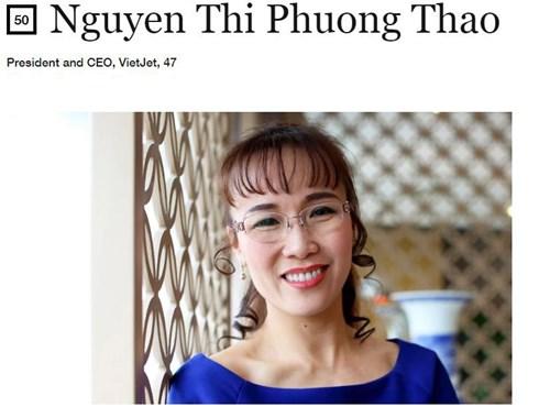 Nữ doanh nhân Nguyễn Thị Phương Thảo là một trong 50 nữ doanh nhân quyền lực nhất thế giới 2017