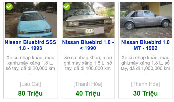 Nissan Bluebird cũ chỉ được rao bán với giá vài chục triệu đồng.