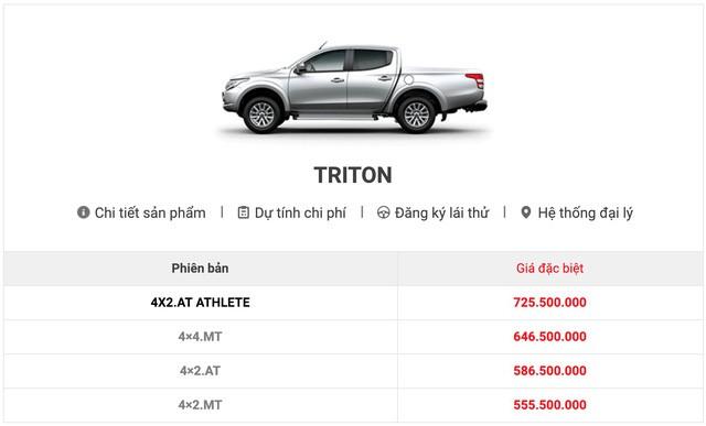Website của Mitsubishi Việt Nam đã xóa thông tin giá bán Triton Mivec đời cũ.