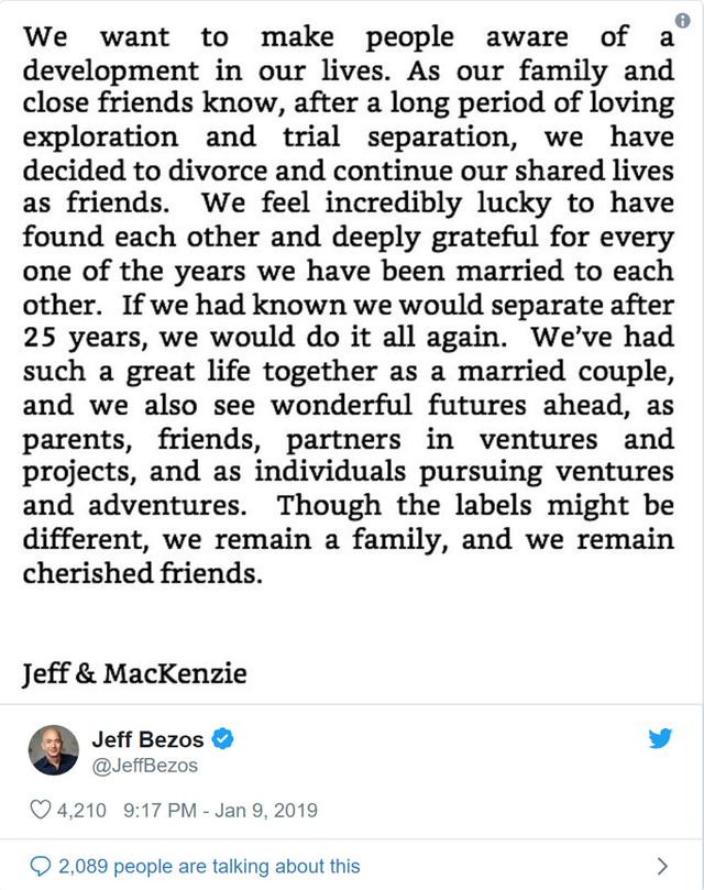 Chia sẻ của Jeff Bozos trên trang Twitter của mình.