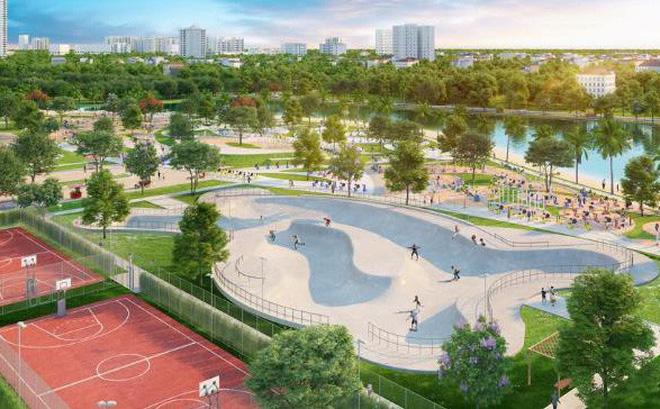 Một góc công viên Patin tại VinCity Sportia. Trong tương lai, đây sẽ là một trong rất nhiều công viên chức năng tại Thành phố năng động Trung tâm Tây Thủ Đô.