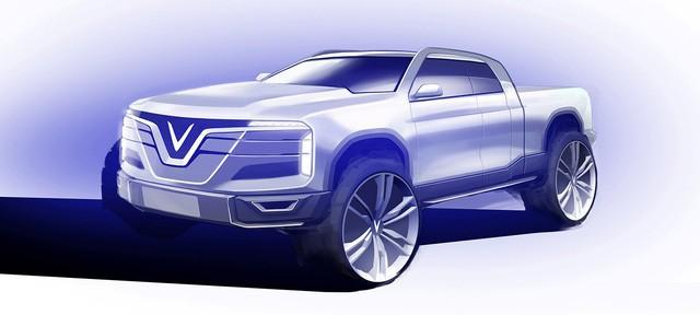 Bản phác thảo xe bán tải VinFast cho thấy thiết kế khá hầm hố.