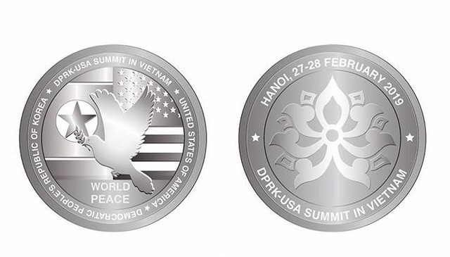 Đồng xu được Công ty TNHH MTV Tem bưu chính phát hành nhân Hội nghị Thượng đỉnh Hoa Kỳ- Triều Tiên. Ảnh: Internet