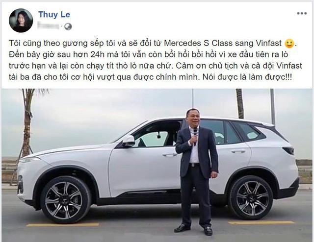 Dòng trạng thái mới nhất của bà Lê Thị Thu Thủy trên trang cá nhân.