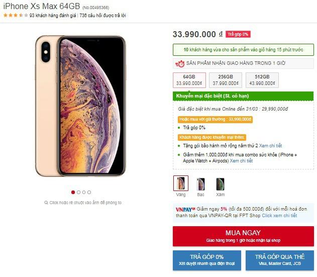 Khách hàng đặt iPhone Xs Max 64GB rồi qua gian hàng của FPT Shop lấy sẽ được giảm 4.000.000 VNĐ, khách mua trả góp lãi suất 0% không có ưu đãi này.