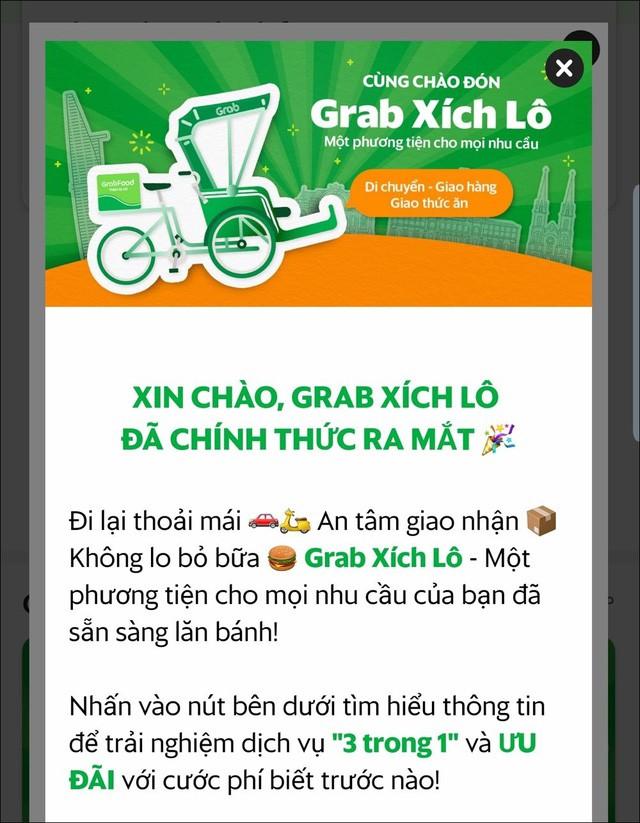 Dòng quảng cáo hiển thị trên ứng dụng Grab - Ảnh chụp màn hình