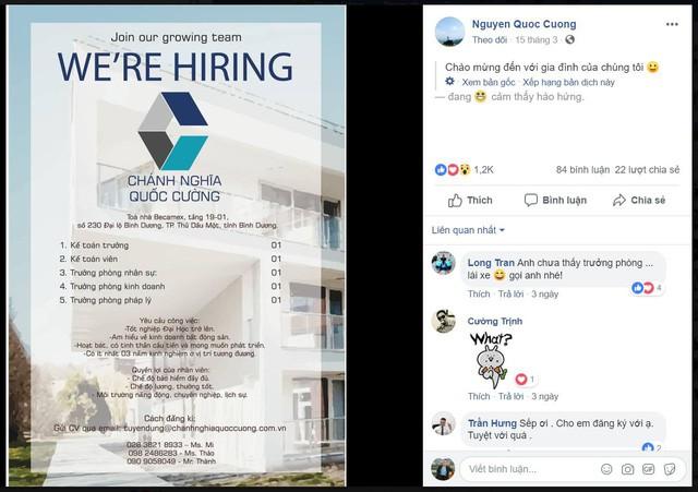 Doanh nhân Nguyễn Quốc Cường đăng tuyển nhân sự trên Facebook cá nhân. (Ảnh chụp màn hình).
