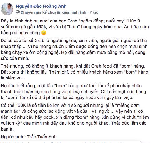 Bài viết về tài xế GrabFood được chia sẻ trên mạng xã hội - Ảnh chụp màn hình