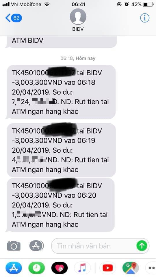 Tin nhắn về điện thoại của chị V.H báo bị rút tiền hôm 20/2