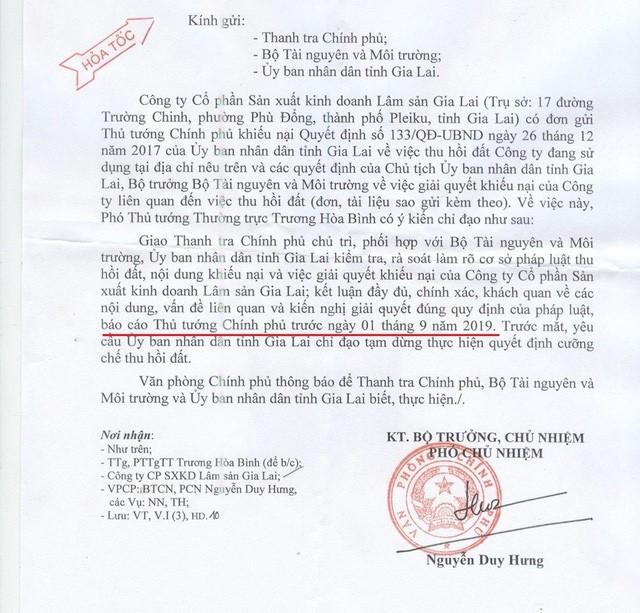 Văn bản chỉ đạo của Văn phòng Chính phủ về vụ việc. Ảnh Nam Phong