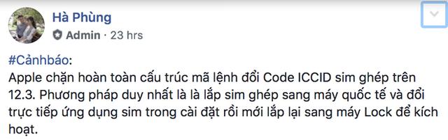 Admin của nhóm Cộng Đồng iPhone Lock Việt Nam cảnh báo về tình trạng của SIM ghép trên iOS 12.3