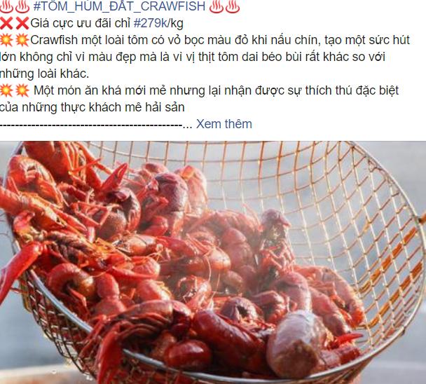 Một tài khoản facebook đăng bài bán tôm hùm đất với những lời quảng cáo hấp dẫn.