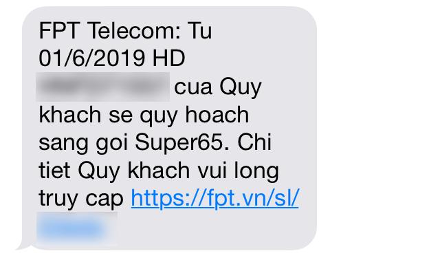 Tin nhắn SMS mà FPT gửi đến các thuê bao nhằm thông báo việc chuyển đổi gói cước