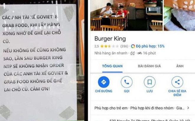 Mẩu thông báo bị cho là kỳ thị giới tài xế công nghệ của một cửa hàng Burger King trên đường Nguyễn Tri Phương (Q10, TP.HCM).