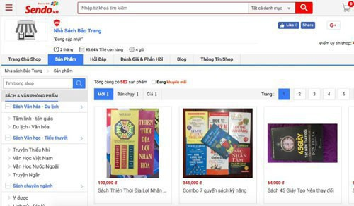 Một gian hàng trên Sendo từng thừa nhận bán sách in lậu, không có bản quyền. Ảnh TL