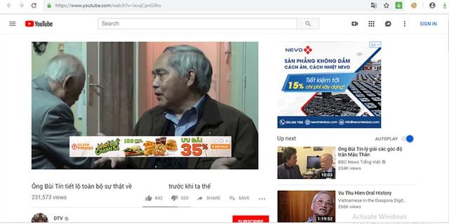 Quảng cáo của một nhãn hàng trong một clip phản động trên YouTube.