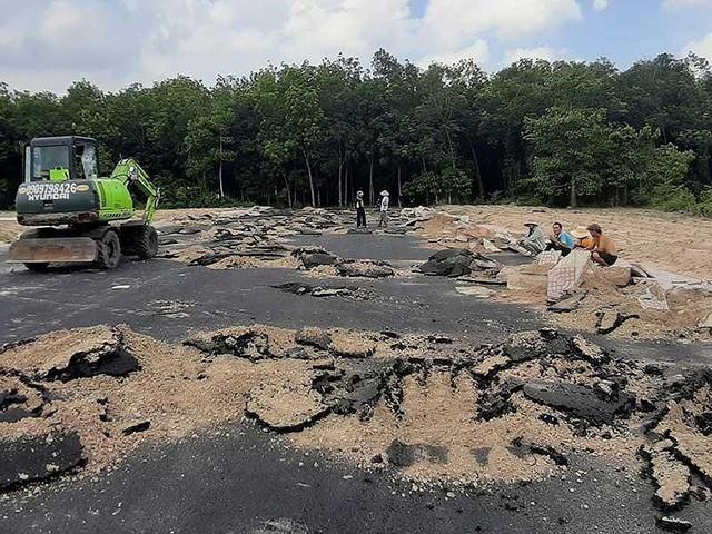 Dự án phân lô, bán nền trái phép trên đất nông nghiệp của Công ty CP Địa ốc Alibaba tại thị xã Phú Mỹ bị cưỡng chế, phá dỡ. Ảnh: TK