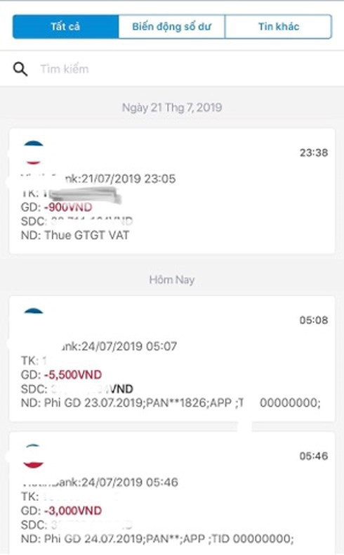 Thông báo trừ tiền của ngân hàng đến tài khoản chị T từ ngày 21-24/7
