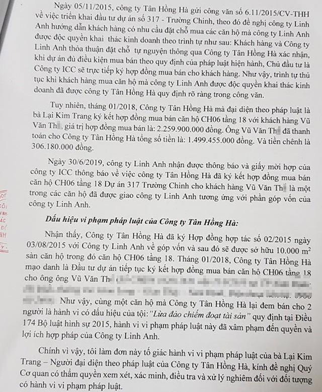 Công ty Linh Anh làm đơn tố cáo Công ty Hồng Hà khi bán một căn hộ cho hai khách hàng tại dự án chung cư 317 Trường Chinh.