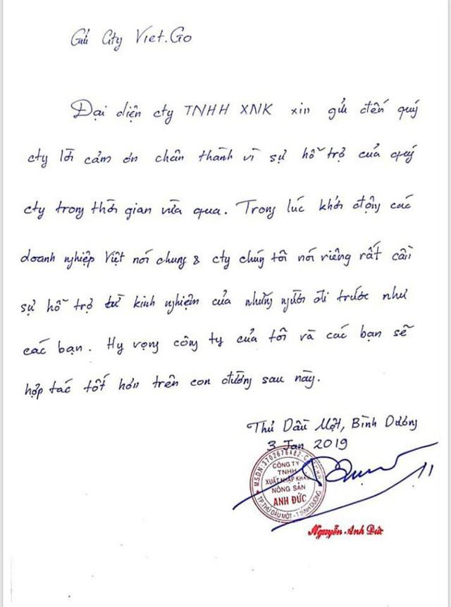 Bức thư tay Anh Đức viết gửi Công ty VIETGO.