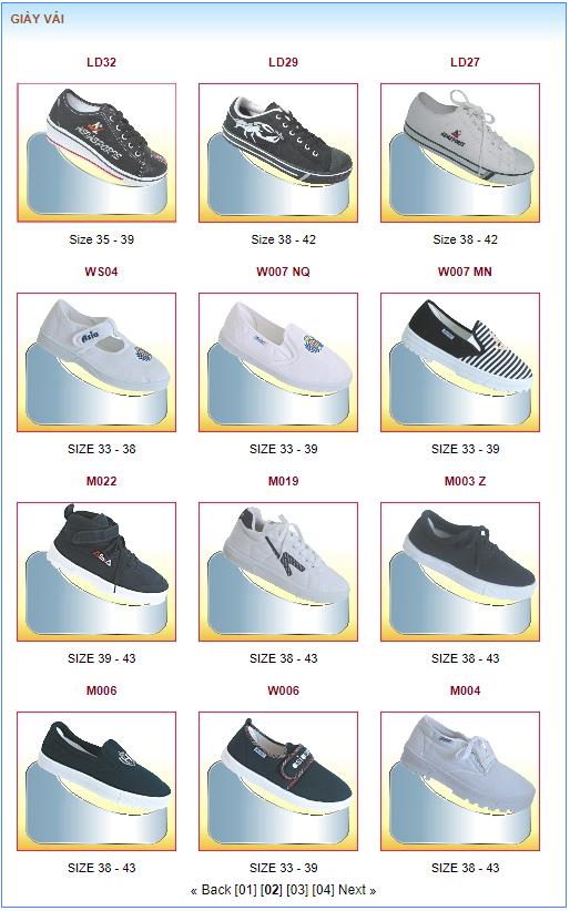 Một số sản phẩm của Giày Á Châu