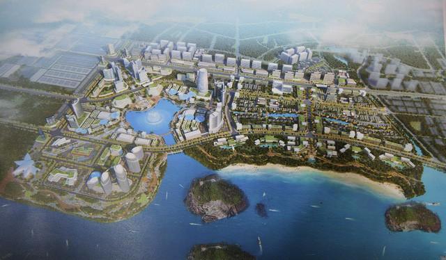 Phối cảnh ý tưởng quy hoạch phân khu 2 và 3, Khu đô thị Cái Rồng, huyện Vân Đồn, tỉnh Quảng Ninh.