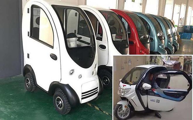 Ô tô mini xuất xứ Trung Quốc giá 40 triệu đồng được rao bán trên Facebook (ảnh lớn). Chủ tài khoản bán xe quay clip chạy thử ô tô điện mini đăng lên mạng xã hội để tăng niềm tin cho khách hàng (ảnh nhỏ, chụp từ màn hình).
