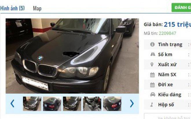 Một chiếc ô tô BMW đời 2004 được rao bán giá 215 triệu đồng.