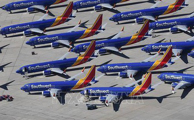 Máy bay Boeing 737 MAX của Southwest Airlines tại Victorville, California, Mỹ. Ảnh: AFP/TTXVN