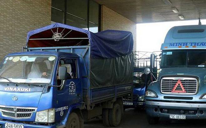 Mới đây hàng trăm xe container chở thanh long bị ùn lại tại cửa khẩu đường bộ Kim Thành, thuộc cửa khẩu quốc tế Lào Cai. Ảnh: TTXVN