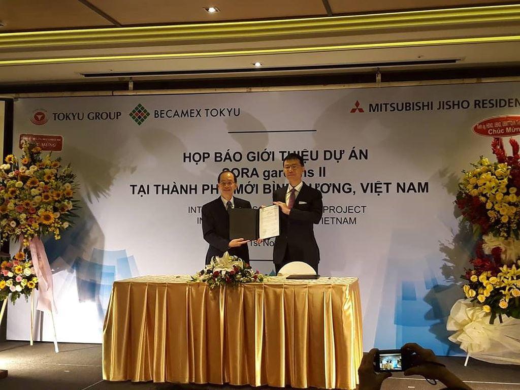 Đại diện Becamex Tokyu và Mitsubishi Jisho Residence ký kết hợp tác thành lập công ty liên doanh