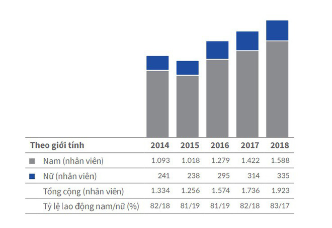 Biến động nhân viên của REE từ năm 2014 - 2018