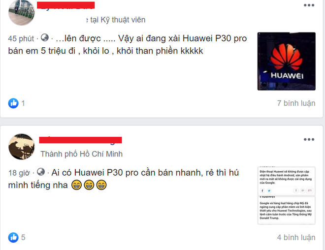 Nhiều người đăng tin cần mua điện thoại Huawei giá rẻ trên mạng xã hội.
